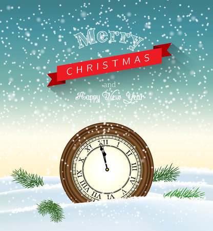 sky: Vintage clock showing one minute to twelve lying in snow, vector illustration, eps 10 with transparency and gradient meshes Illustration
