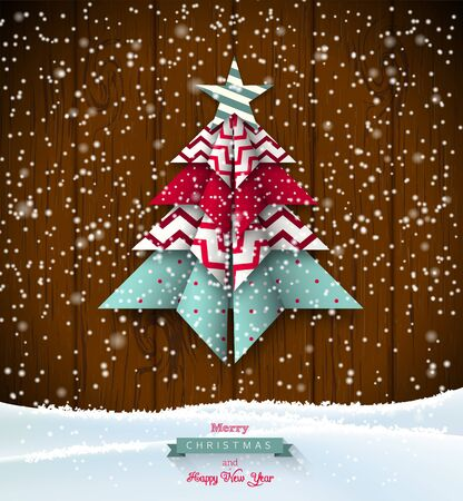 scandinavian christmas: colorful origami tree on dark wooden background, abstract christmas theme, vector illustration, eps 10 with transparency and gradient meshes Illustration