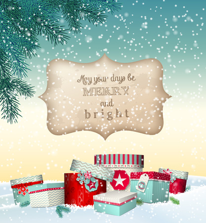 christmas gifts: Christmas greeting card with colorful gift boxes lying in snowy landscape, winter theme, with transparency and gradient mesh Illustration