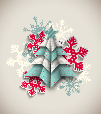 origami: colorful origami tree with snowflakes on beige background, abstract christmas theme,  transparency and gradient meshes
