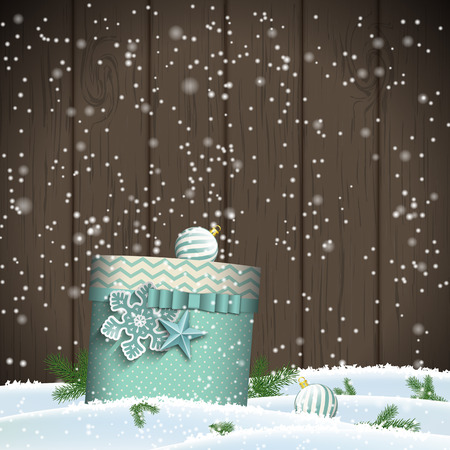 Christmas greeting card with bue gift box on dark wooden background, winter theme,  transparency and gradinet mesh