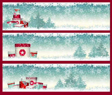 krajina: Tři vánoční bannery s goft boxy s zimní krajiny v pozadí, vektorové ilustrace, EPS 10 s průhledností a mřížek přechodů