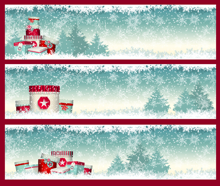 gift: three christmas banners with goft boxes with winter landscape in background, vector illustration, eps 10 with transparency and gradient meshes