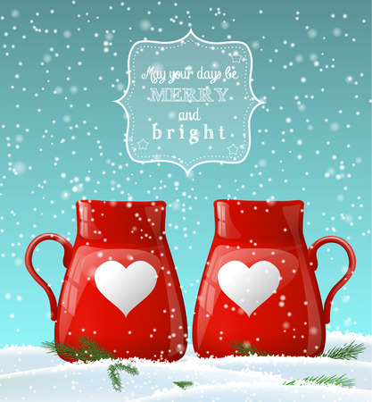 hot drinks: Two red cups with white heart in snow, winter theme, transparency and gradient meshes
