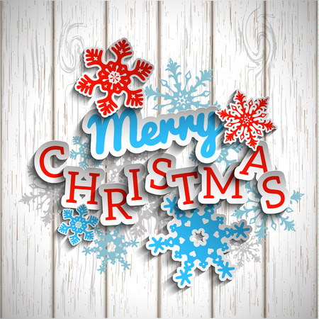 rustic christmas: Colorful decorative text Merry Christmas with 3d effect, on white wooden background,  transparency and gradient meshes