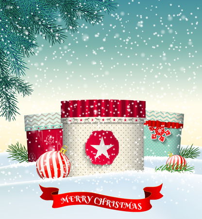 christmas gifts: Christmas background with three colorful gift boxes in winter landscape, transparency and gradient meshes