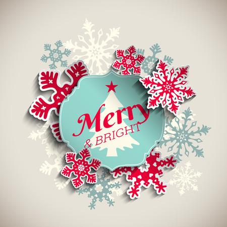 copo de nieve: tarjeta de felicitación de la Navidad, etiqueta azul con el texto feliz y brillante con los copos de nieve rojos abstractos, en el fondo de color beige, ilustración vectorial