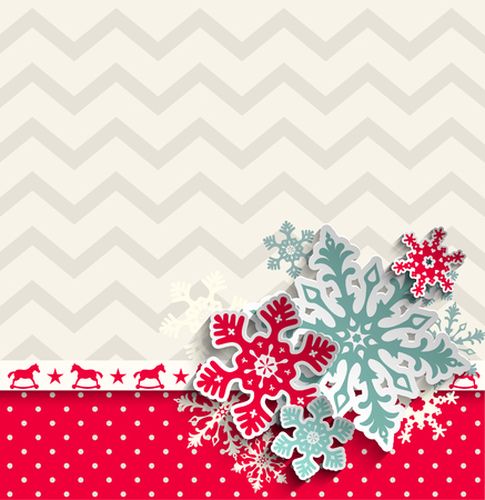 red christmas background: abstract christmas background with decorative snowflakes and chevron pattern, vector illustration, eps 10 with transparency