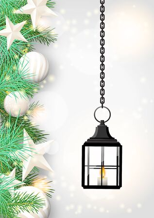 green lantern: christmas theme with vintage black lantern, green needles and white baubles on white wooden background, vector illustration, eps 10 with transparency and gradient meshes Illustration