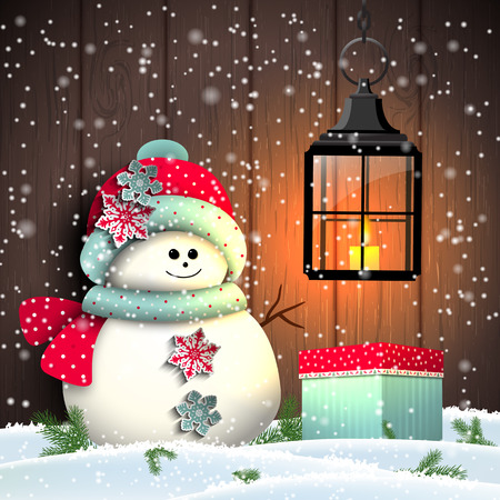 snowman wood: Cute snowman with colorful present and vintage lantern, christmas winter theme, vector illustration, eps 10 with transparency and gradient meshes Illustration