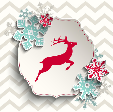 red deer: red deer with abstract snowflakes on beige chevron background, christmas illustration, vector, eps 10 with transparency