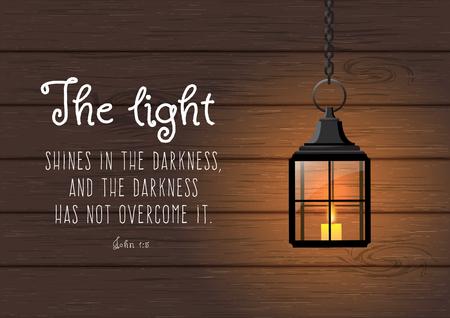 Das Licht scheint in der Finsternis, und die Finsternis hat es nicht erfaßt. Bibelzitat. Weinlese-leuchtenden Laterne auf Holzuntergrund, Weihnachten Design, Vektor Illustration, EPS-10 mit Transparenz