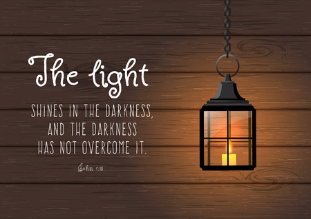 The light shines in the darkness, and the darkness has not overcome it. Biblical quote. Vintage shining lantern on wooden background, christmas theme, vector illustration, eps 10 with transparency Vettoriali
