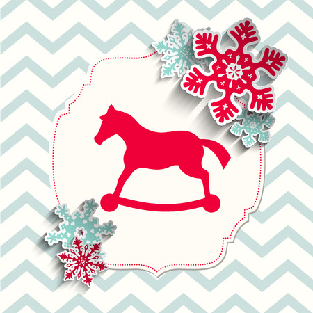 chevron background: red rocking-horse with abstract snowflakes on beige chevron background, christmas illustration, vector, eps 10 with transparency Illustration