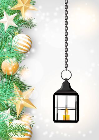 seson: christmas theme with vintage black lantern, green needles and golden baubles on white wooden background, vector illustration, eps 10 with transparency and gradient meshes