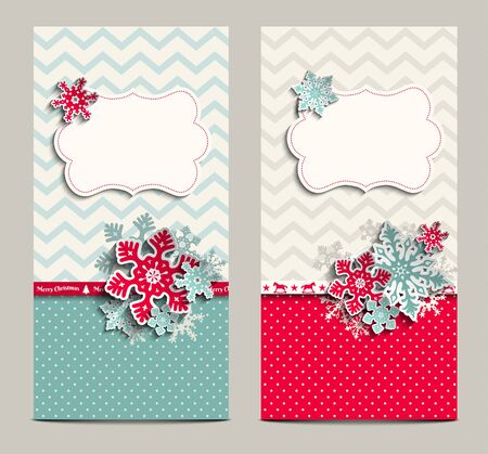 aqua background: two greeting cards in shabby chic style with abstract snowflakes, can be used as christmas background, vector illustration, eps 10 with transparency Illustration