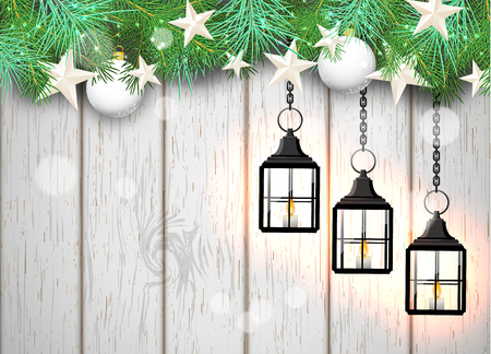 seson: christmas theme with tree vintage black lanterns, green needles and white baubles on white wooden background, vector illustration, eps 10 with transparency and gradient meshes