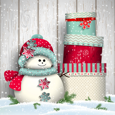 snow: Cute snowman with stack of big colorful presents, christmas winter theme, vector illustration, eps 10 with transparency and gradient meshes Illustration