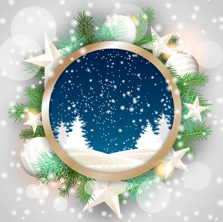christma: christmas motive, abstract winter landscape in rounded decorative frame with green branches, white baubles and stars, vector illustration, eps 10 with transparency and gradient meshes