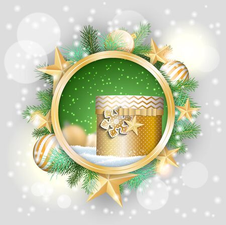 christmas motive: christmas motive, golden present in rounded decorative frame with green branches, white baubles and stars, vector illustration, eps 10 with transparency and gradient meshes