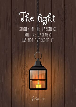 bible christmas: The light shines in the darkness, and the darkness has not overcome it. Biblical quote. Vintage shining lantern on wooden background, christmas theme, vector illustration, eps 10 with transparency Illustration