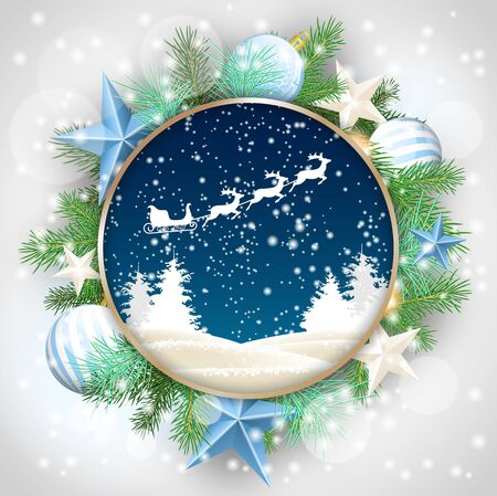 christmas motive: christmas motive, abstract winter landscape and santas sleigh in rounded decorative frame with green branches, white baubles and stars, vector illustration, eps 10 with transparency and gradient meshes