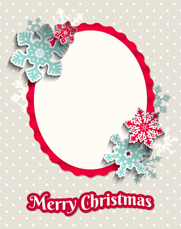 christams: Christams greeting card with colorful snowflakes and text Merry Christmas on beige dotted background, vector illustration  Illustration