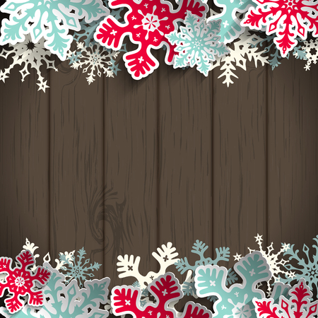 brown background: Abstract  blue and red snowflakes on dark gray wooden background with 3D effect, winter concept, vector illustration, eps 10 with transparency Illustration