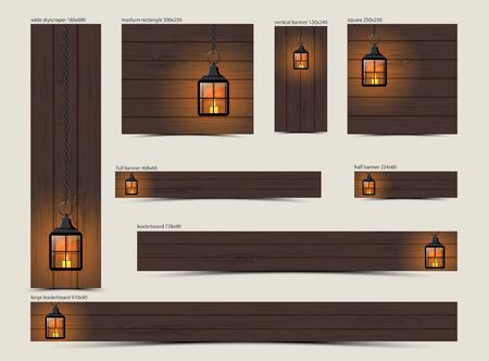 Set of christmas banners, vintage black lantern with burning candle on dark brown wooden background, vector illustration, eps 10 with transparency and gradient meshes