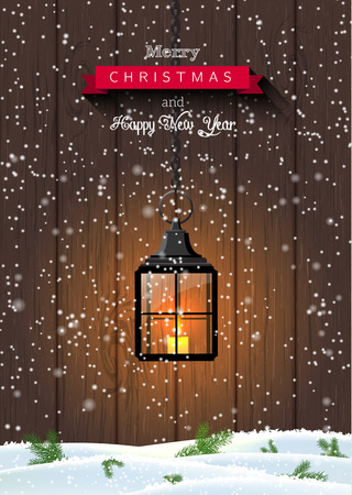Christmas greeting card with old black shining lantern on dark wooden background, vector illustration, eps 10 with transparency and gradient meshes Ilustracja