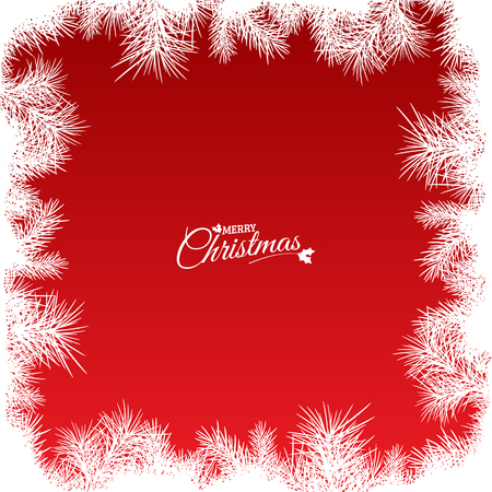 copy space: red christmas background with abstract white needles and text, vector illustration