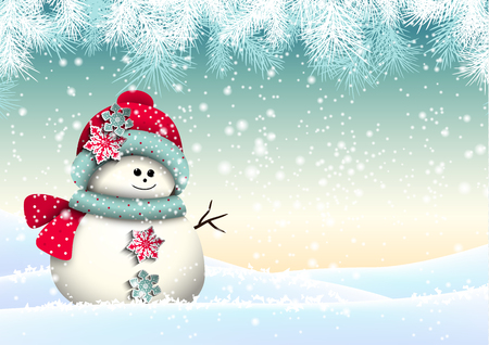 Cute snowman in snowy landscape, christmas winter theme, seasonal background, vector illustration, eps 10 with transparency and gradient meshes Illustration