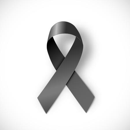 black ribbon  on white background 일러스트