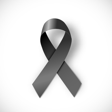black ribbon  on white background Illustration