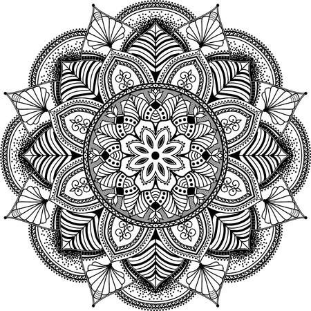 dessin noir et blanc: mandala a inspiré l'illustration