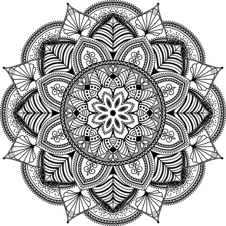 isolated on white: mandala inspired illustration