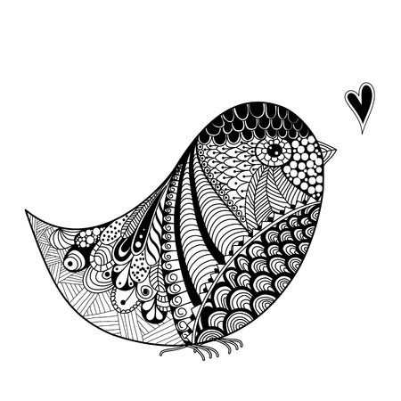 freehand: inspired abstract illustration of bird