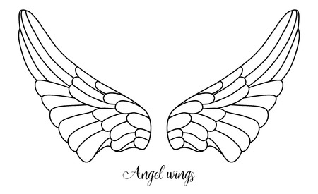 angel white: simple shape of angel wings, black line on white background