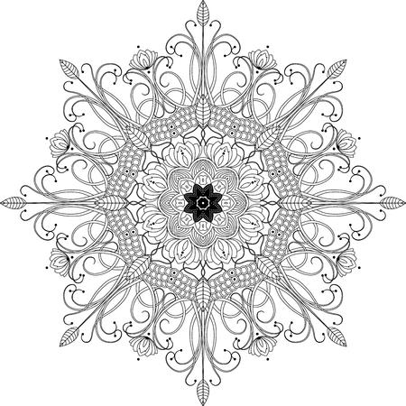 anti stress: mandala inspired illustration, black and white anti stress coloring page