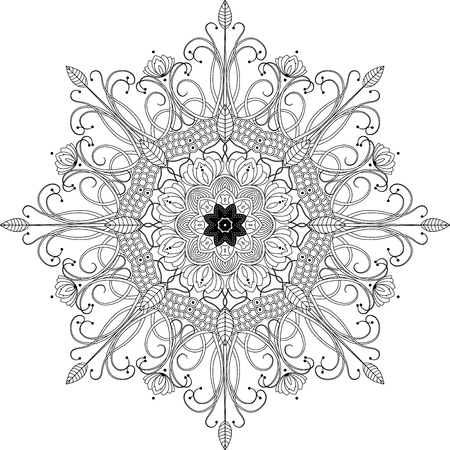 mandala inspired illustration, black and white anti stress coloring page