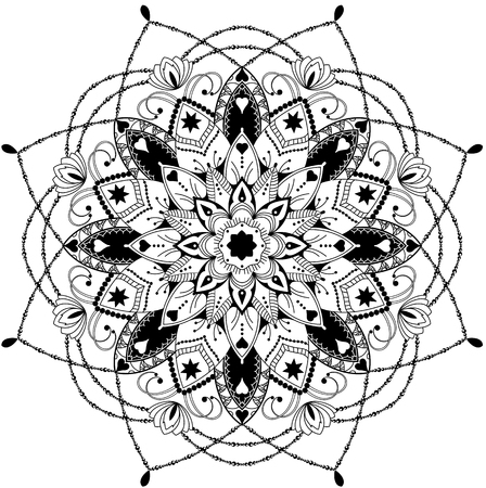 star tattoo: mandala, highly detailed illustration, black and white antistress colouring page