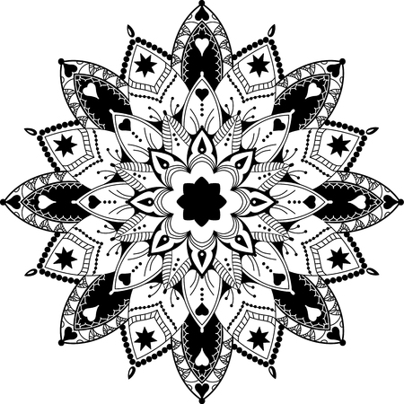 mandala, zentangle inspired, highly detailed illustration, black and white antistress colouring page, vector illustration, eps 10 Illustration