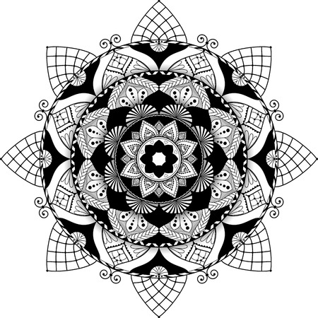 antistress: mandala,  highly detailed illustration, black and white antistress colouring page, with 3d effect