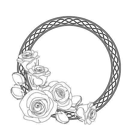 ornamento redondeado con motivo celta y rosas, antiestrés página para colorear para los adultos Ilustración de vector