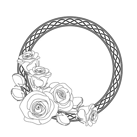 rounded ornament with celtic motive and roses, antistress coloring page for adults