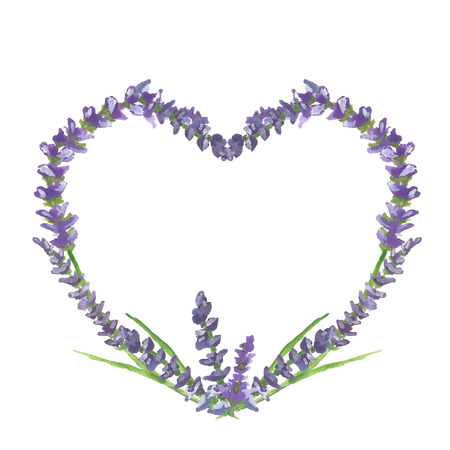 provence: Lavender heart on beige background in Provence style, wedding or valentine graphic motive, watercolor painting, vector illustration, eps 10