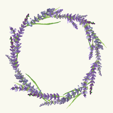 Lavender wreath on beige background in Provence style, watercolor painting, vector illustration, eps 10