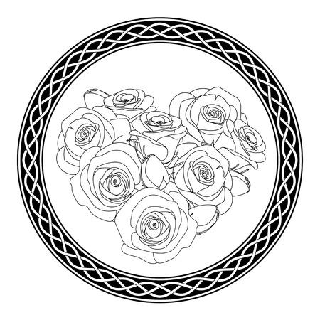 ornement rond avec motif celtique et roses, coloriage antistress pour les adultes, illustration vectorielle