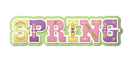illustrated: Spring, illustrated text, name of season of the year on white background, vector illustration