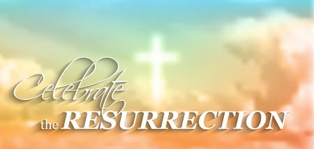 resurrección: Motivo de Pascua cristiana, con el texto de celebrar la resurrección, cruz blanca y las nubes, ilustración vectorial, EPS 10 con la transparencia y la malla de gradiente